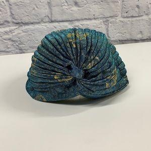 Blue and gold twist front metallic turban